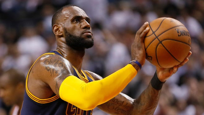 Cleveland Cavaliers forward LeBron James prepares to shoot a free throw against the Toronto Raptors during Game 3 of the second round of the 2017 NBA Playoffs at Air Canada Centre.
