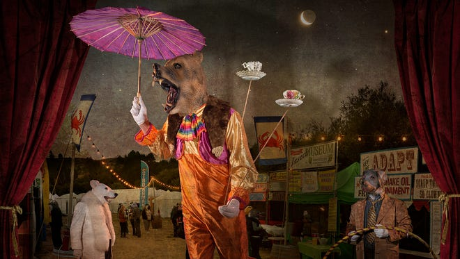 """""""The Plate Waltz"""" by Shawn Harris, who takes staged shots of himself in masks."""