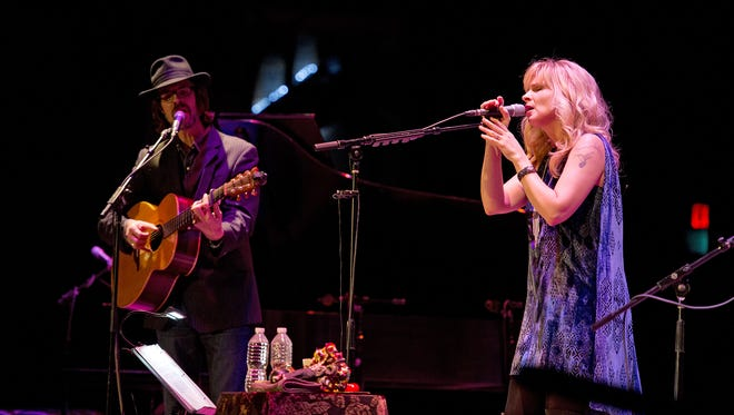 Over The Rhine, led by Linford Detweiler (left) and Karin Bergquist, held its annual Christmas concert at the Taft Theatre Saturday.