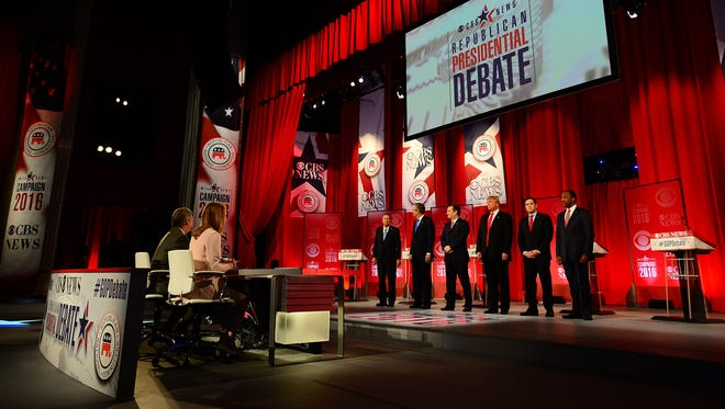 Republican presidential hopefuls are introduced during the Republican debate at the Peace Center in Greenville, S.C., on Feb. 13, 2016.