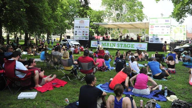 Cory Branan performs at Musicians Corner in Centennial Park in Nashville, Tenn. June 6, 2015.