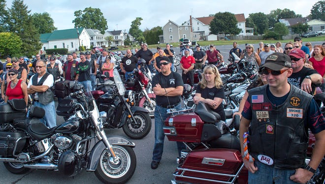 Motorcylist gather and listen to announcements outside of American Legion-Post 373 in Greencastle, Pa., before they take part in the 3rd annual Flight 93 Memorial Ride on Saturday. Sept. 10, 2016.
