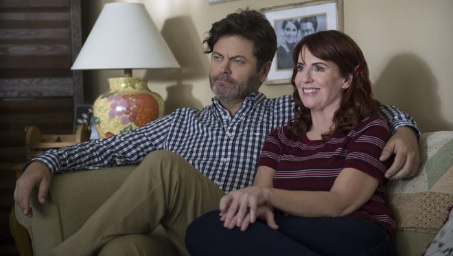 Mary-Lynn (Megan Mullally, left) and Spencer (Nick Offerman) offer a unique perspective on relationships when they stop by the Short household in the Season 2 premiere of CBS' 'Life in Pieces.'