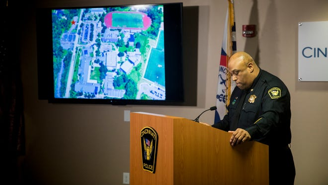 Cincinnati Police Chief Eliot Isaac speaks to reporters about the death of 16-year-old Kyle Plush Thursday, April 12, 2018 during a news conference at the Criminal Investigation Section conference room. He showed a map of Seven Hills School campus on Red Bank Road with a star indicating where Kyle Plush's 2004 Honda Odyssey was found.