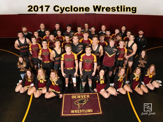 The Denver wrestling team poses for a team picture