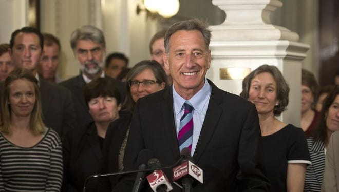 Gov. Peter Shumlin takes questions after announces that he will not seek another term as Vermont's governor during a news conference Monday at the Statehouse in Montpelier.