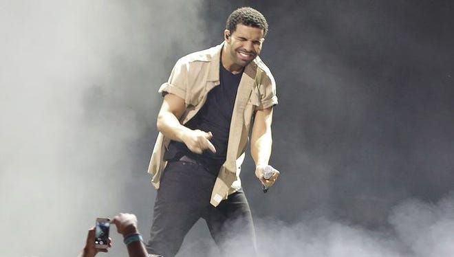 Drake performs at the Riverbend Music Center in Cincinnati on Aug. 15, 2014.