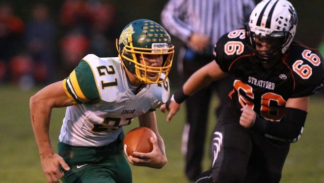 Alec Hafferman, lett, and Edgar remain the top-ranked team in the Small Division of The Associated Press state football poll.