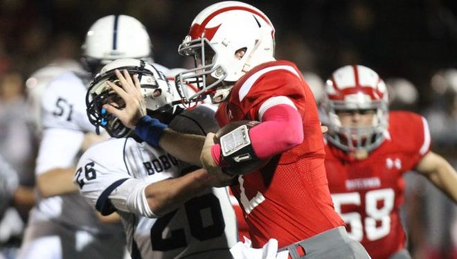 Tappan Zee football held on to beat Byram Hills 27-20 at Tappan Zee Oct. 9, 2015.