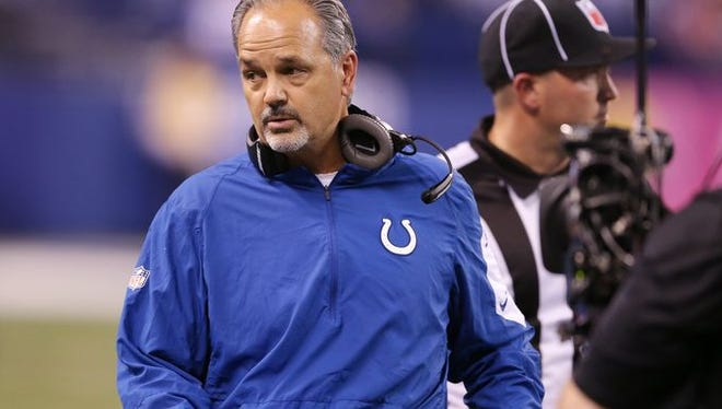 Indianapolis Colts head coach Chuck Pagano during game action against New England, Lucas Oil Stadium, Indianapolis, Sunday, Oct. 18, 2015.