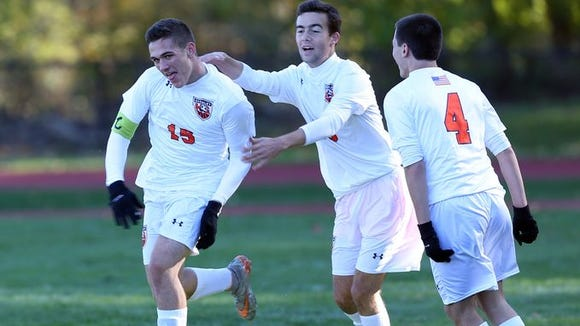 Matt Neuberger (left) is the latest #lohudsoccer Player of the Week. Horace Greeley defeated North Rockland in a boys soccer playoff game at Horace Greeley High School in Chappaqua Oct. 23, 2015.