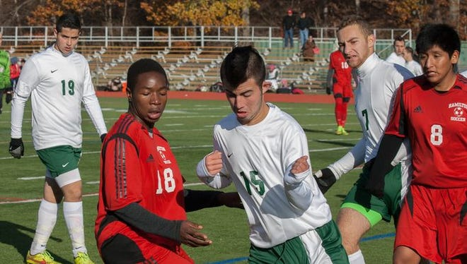 Solomon Schecter took on Alexander Hamilton in the boys class C soccer section finals at Arlington High School in Lagrangeville, NY on November 2, 2014