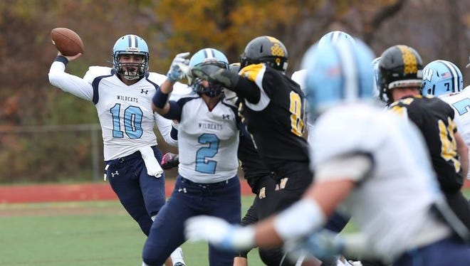 Westlake quarterback Thomas Castro looks downfield during his team's 6-0 victory over Nanuet in the Section 1 Class B championship Nov. 7.