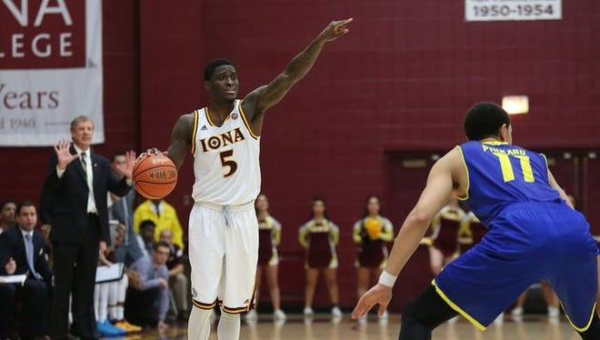 Iona's A.J. English, pictured against Delaware, hit a MAAC-record 13 3-pointers and established a Hynes Athletic Center record with 46 points against Fairfield in a 101-77 victory on Dec. 1, 2015.