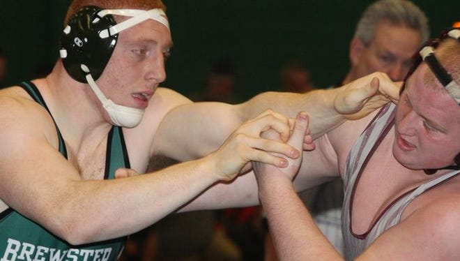 Brewster's Mike Larm, left, defeated Burnt Hills Jake Warren in a 285-pound match at the Eastern States Classic wrestling tournament at Sullivan Community College Jan. 15, 2016.