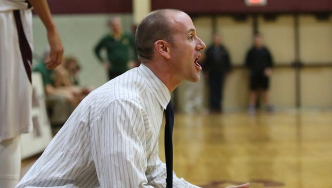 Ossining's head coach Mike Casey during boys basketball game at Ossining High School on Jan. 21, 2016. Ossining defeated Lakeland 71-48. Casey's team hosts Carmel in the Class AA playoffs on Feb. 17, 2016.