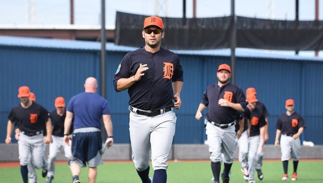 Anibal Sanchez jogs with other Tiger pitchers Sunday in Lakeland.