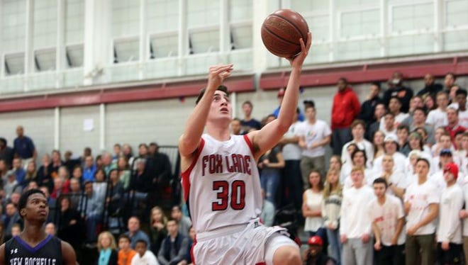 Fox Lane defeated New Rochelle 78-45 in the Class AA quarterfinals at Fox Lane High School in Bedford Feb. 20, 2016.