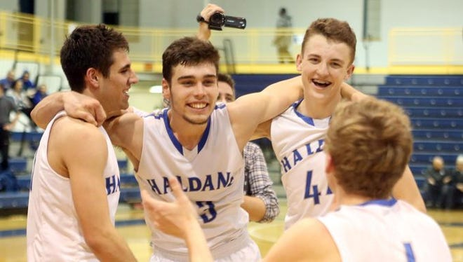 Haldane players celebrate Haldane held on to defeat Stony Brook 35-34 in the Class C regional basketball final at Pace University in Pleasantville March 4, 2016.
