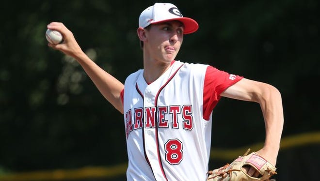 Rye's George Kirby pitches against John Jay during their Class A baseball semifinal at Disbrow Park in Rye, May 27, 2015. Rye beat John Jay, 6-3.