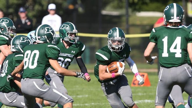 Pleasantville beat Westlake 38-35 on Oct. 15, 2016 at Parkway Field in Pleasantville. The teams will meet against Nov. 5, 2016 for the Class B championship at Mahopac High School.