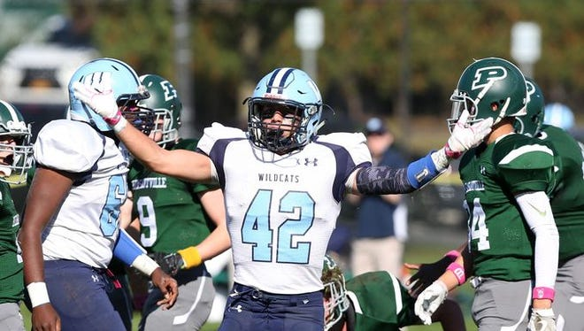 Westlake and Joe Ferri (42) will try to repeat as Class B champions. The Wildcats play Pleasantville, which beat them 38-35 at Parkway Field on Oct. 15, 2016.