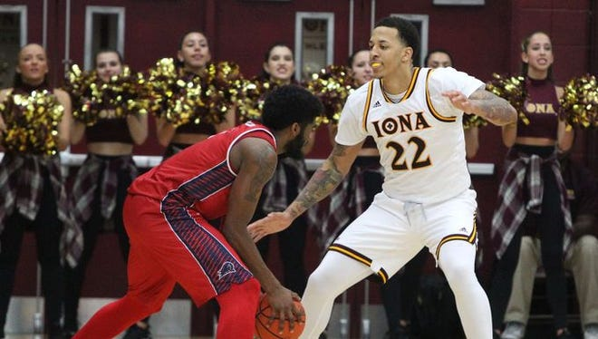 Iona senior Taylor Bessick plays defense during his team's game against NJIT on Dec. 14, 2016 at the Hynes Center in New Rochelle.