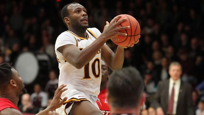 Jon Severe goes up for a shot attempt during Iona's 93-80 win over Marist at the Hynes Center on Dec. 31, 2016. Severe and the Gaels play at preseason MAAC favorite Monmouth Friday night.
