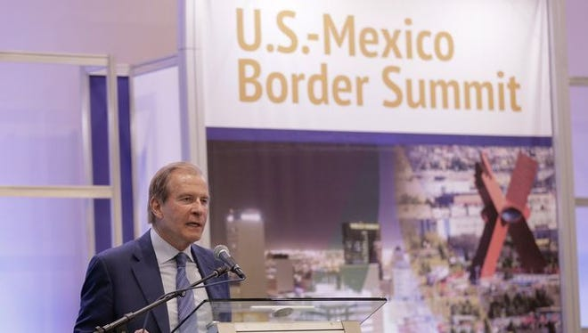 El Paso businessman Woody Hunt, a board member of the Borderplex Alliance, speaks at last year's U.S.-Mexico Border Summit. He is to give opening remarks at this year's summit beginning Wednesday at the Downtown El Paso convention center.