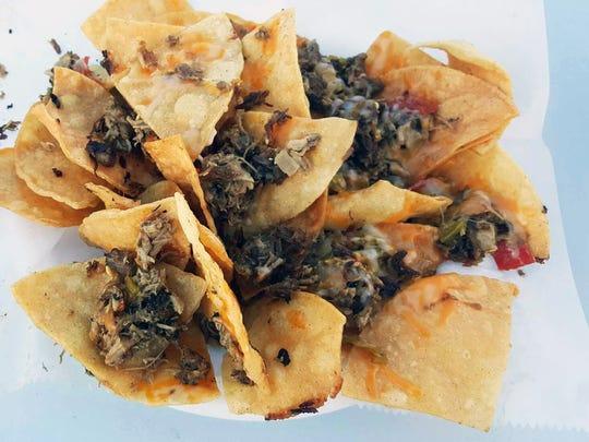 Carne asada nachos ($8)