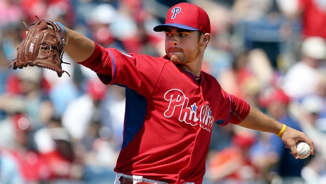 Phillies starting pitcher Jesse Biddle throws a pitch during the fourth inning of a spring training baseball game March 13 against the Tampa Bay Rays at Bright House Field. Credit: Reinhold Matay-USA TODAY Sports