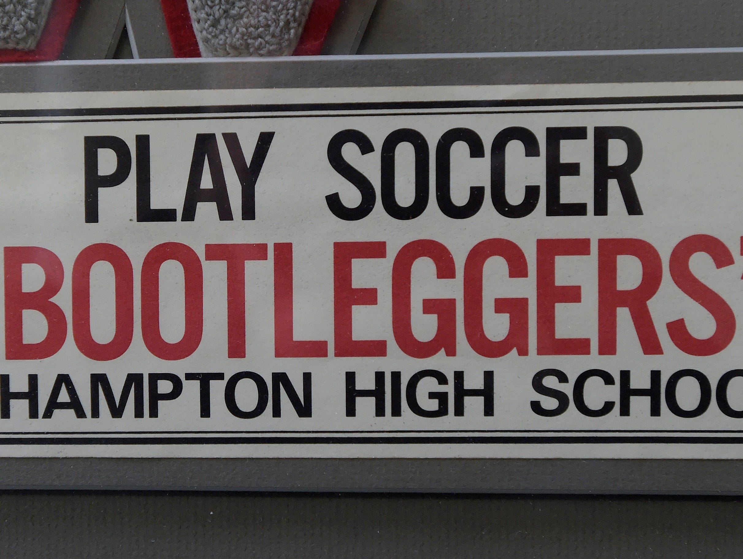 "1974 Wade Hampton soccer bumper sticker with the team's nickname, ""Bootleggers""."
