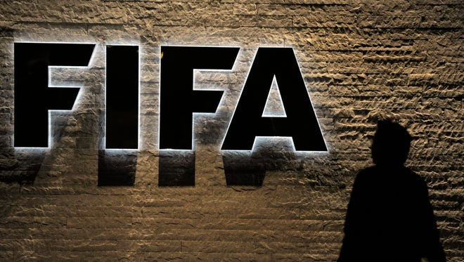 FIFA logo at the headquarters of the International Football Association in Zurich, Switzerland.