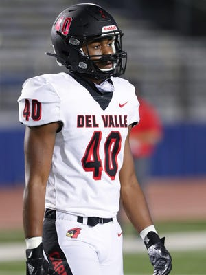 Del Valle defensive lineman Jason Harris forced one fumble, recovered two of them and sacked the quarterback three times in Del Valle's first district win of the season over Akins Thursday.