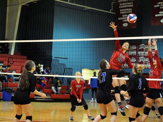 Many battled Evangel in LHSAA playoff volleyball action