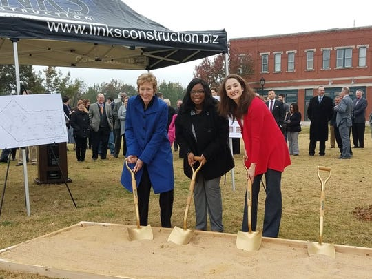 MSU President Suzanne Shipley, along with student leaders Shayla Owens and Lindsey Shelley, from left, attend a groundbreaking ceremony in late 2016 for a new facility the university will share with North Central Texas College in Flower Mound. Construction is about 30 days behind schedule on the facility, though MSU is still eyeing a January opening date.