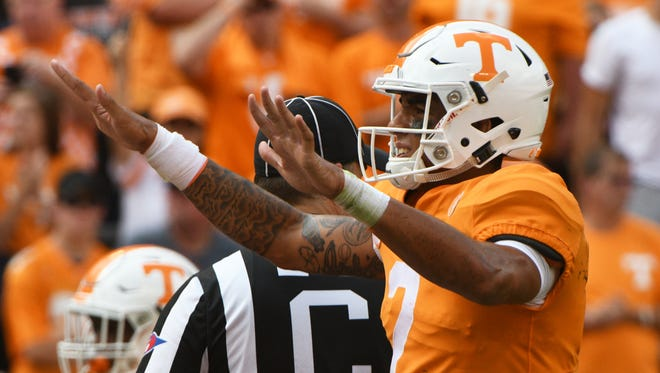 Tennessee quarterback Jarrett Guarantano (2) holds his hands up during the first half of a Tennessee vs. South Carolina game at Neyland Stadium in Knoxville, Tenn. Saturday, Oct. 14, 2017.