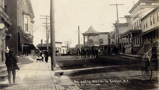 Main Street in Groton, circa 1908.