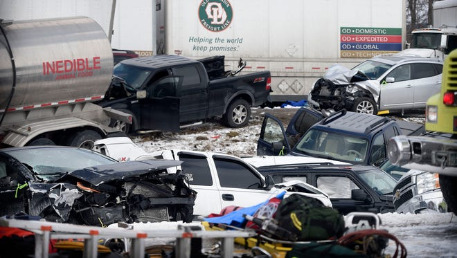 Sixty-four vehicles were involved in a pile-up Saturday, Feb. 13, 2016, on Interstate 78 in Bethel Township, Lebanon County. Three people were killed and 73 were injured.