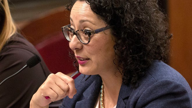 In this June 22, 2016, file photo, Assemblywoman Cristina Garcia, D- Bell Gardens, speaks at the Capitol in Sacramento.