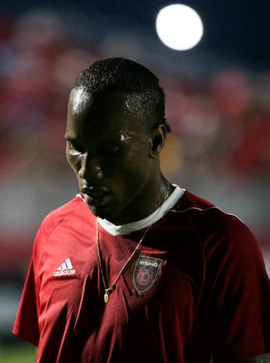 Phoenix Rising's Didier Drogba comes off the field before the game against San Antonio FC at Phoenix Rising Soccer Complex on July 29, 2017.