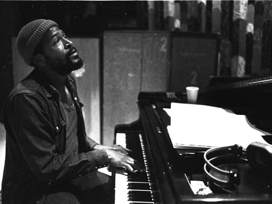"Marvin Gaye photographed at Golden West Studios for Motown Records during ""Let's Get It On"" recording sessions."