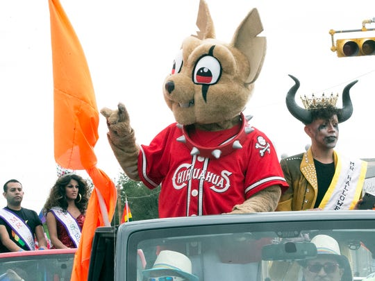 El Paso Chihuahuas' mascot Chico was one of the grand marshals for the Sun City PrideFest 2017 Parade Saturday in Downtown El Paso.