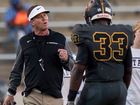 Autauga Academy coach Bobby Carr coaches against Escambia Academy in the AISA Class AA State Championship Football game in Troy, Ala. on Friday November 17, 2017.
