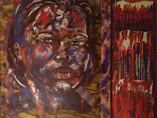 """Omari Booker, """"Blueprint 2,"""" 2015, acrylic on panel, 55x43.5""""."""