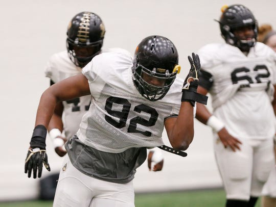 Redshirt freshman defensive end Giovanni Reviere during a Purdue spring football practice inside the Mollenkopf Athletic Center.
