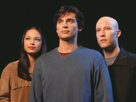 "Tom Welling, center. and Michael Rosenbaum, right, in the days on the show ""Smallville."""