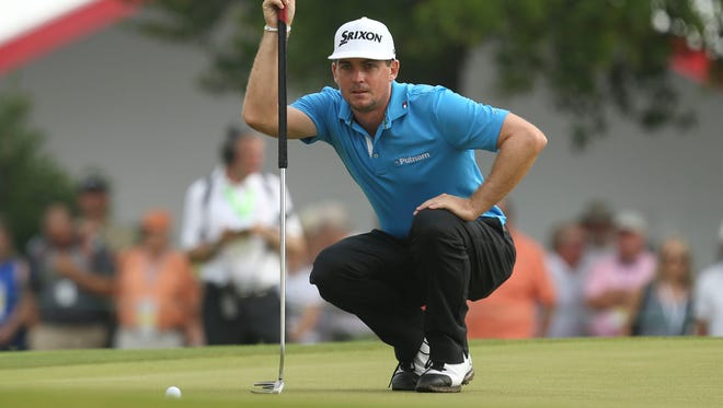 Keegan Bradley lines up a putt during the U.S. Open in June. Bradley will try to secure a spot on the U.S. Ryder Cup team this weekend in Boston.