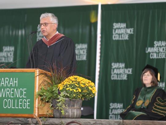 Vijay Seshadri, reads a poem during the inauguration