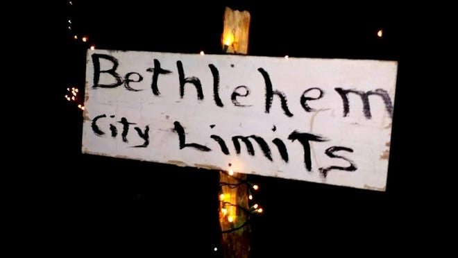 """A sign marks the city limits for """"A Night in Bethlehem"""" at Jimmie Davis State Park."""